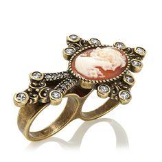 AMEDEO 18mm Cameo Bronzetone Cross 2-Finger Ring