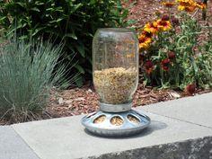 Mason Jar Bird Feeder - Free Standing - Ball Jar Upcycled Garden Decor