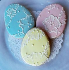 Embroidered Easter Egg Cookies