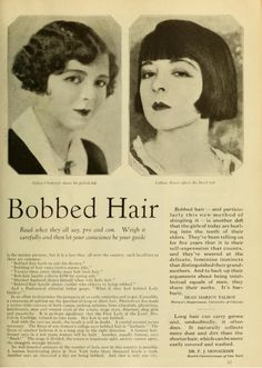 Bobbed Hair, Photoplay My husband's grandmother was nicked Bob because of this haircut. Retro Hairstyles, Bob Hairstyles, Pelo Vintage, Colleen Moore, 1920s Hair, Vintage Beauty, Vintage Advertisements, Fashion Beauty, Short Hair Styles