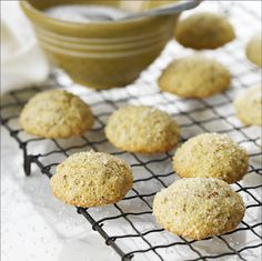 All-Bran™ Sugar Cookies Recipe - These drop cookies are rolled in sugar to create a crunchy caramelized topping. #AllBran #Sugar #Recipe #Cookies #Fibre