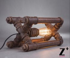 Industrial style American Hand made DIY Rustic Iron water pipe cube table lamp…
