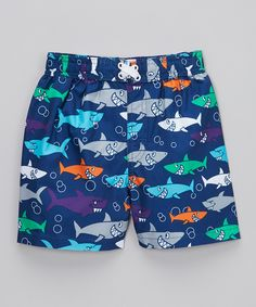 d7d684990f Take a look at this Mick Mack Blue & Seafoam Shark Swim Trunks - Infant,  Toddler & Boys on zulily today!