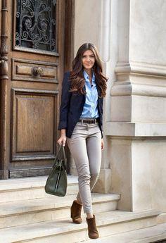 Dark blue blazer, chambray, khaki pants & brown booties