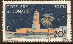 French Somali Coast 1947 20f Dp. blue, orange and lt. blue. SG41