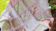 Baby Girl Rag quilt Simply Shabby roses pink and green