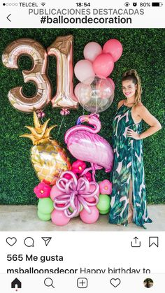 Luau Theme Party, Pool Party Decorations, Festa Party, 50th Birthday Party, Balloon Decorations, Hawaiian Birthday, Flamingo Birthday, Flamingo Party, Birthday Balloons