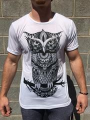 Mens Owl Zentangle Crew - Electro Threads™ - 1