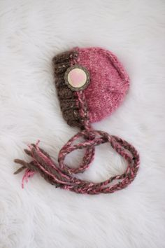 RTS Pink Newborn Hat, Brown and Pink Baby Girl Hat, Knitted Bonnet Hat with Heart Button - Great Photo Prop