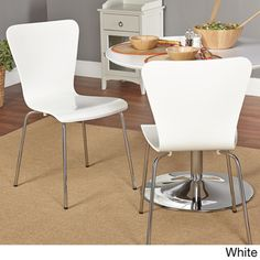 Available in multiple colors to meet your decor needs, this modern chair set gives your kitchen a lively feel. This two-piece chair set is an ideal choice for small spaces. These lightweight chairs ar