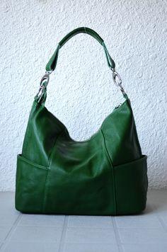 Leather hobo Jolie medium green---Adeleshop handmade Leather bag Messenger Diaper bag Shoulder bag Tote Handbag Hip bag Women. via Etsy.