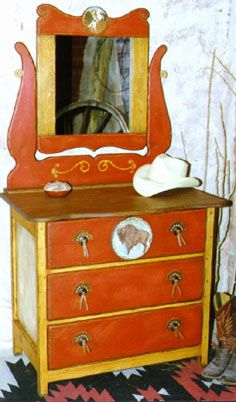 Schahrer Western Furniture Gallery Hand Painted Pine Dresser With Mirror  From Southwest Country