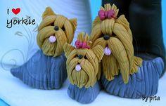 yorkie family porcelana fria polymer clay