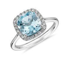 0.2ctw Diamond Aquamarine Halo Engagement Ring March Birth Stone Ring in 14K…