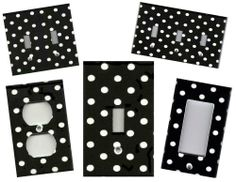 BLACK WITH WHITE POLKA DOTS - HOME DECOR LIGHT SWITCH PLATE