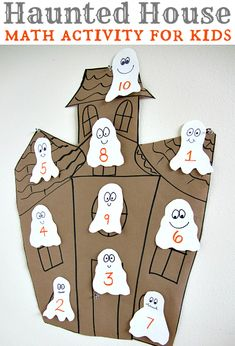 Halloween Math Activity For Kids Fun Halloween math idea . Different levels for different ages too! Use with 10 Timid Ghosts by Jennifer O'Connell. Would be great for preschoolers with number recognition and counting practice too! Math Activities For Kids, Preschool Math, Fun Math, Kids Math, Kindergarten, Preschool Halloween Activities, Montessori Activities, Theme Halloween, Halloween Crafts