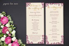 Printable Wedding Program, Blush Wedding Program, Ceremony Program, Wedding Party, Catholic Wedding Program, Unique Wedding Program - Renne