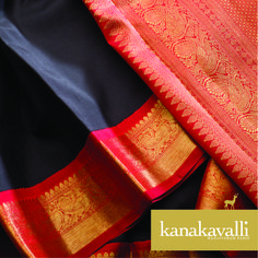The Kanjivaram lends itself to the expression of bold contrasts and the Black & Red combination denotes a classic use of colours in the Kanjivaram. What makes this truly special, is that the korvai weaving allows the individual powers of each colour to be retained for a remarkable contrast. In this sari, one can appreciate how the separate weaving and korvai pattern make it a jugalbandi of the two colours, rather than just a blend of red and black.