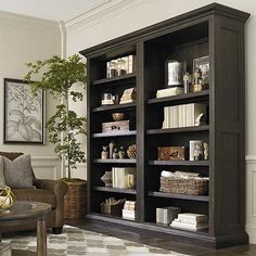 Bring dramatic style to your room with Emporium Tall Single Open Bookcase in smoked oak with 6 shelves, crown molding. Tall Bookshelves, Open Bookcase, Decorating Bookshelves, Open Shelving, Bookshelf Styling, Parks Furniture, Home Office Furniture, Furniture Sale, Custom Furniture