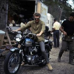 Steve McQueen on his Triumph Bonneville on the set of The Great Escape, Bavaria Film studios, South of Munich, May 1962