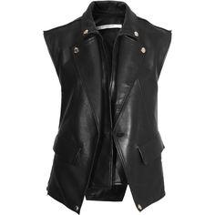 Givenchy Paris Black Leather Biker Vest ❤ liked on Polyvore