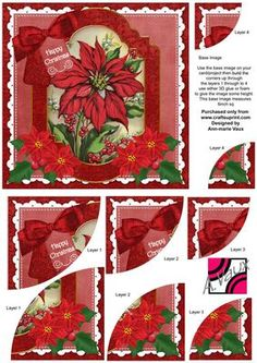 Red Poinsettia Christmas 6in Duo Corner Stacker Card Front on Craftsuprint - Add To Basket!