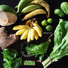 The contents of our latest CSA basket from Brasso Seco, Trinidad...can you the name all the fruits & veggies pictured?