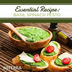 Basil Spinach Pesto  Ingredients  6 cups spinach leaves washed thoroughly   cup of walnuts  2 cloves of garlic peeled  1 teaspoon sea salt  1/8 teaspoon black pepper   cup Parmesan cheese  1 tablespoon lemon juice  2 tablespoons extra-virgin olive oil  1 drop Basil essential oil  2 drops Lemon essential oil  Directions 1. Combine all ingredients in a food processor. 2. Mix until combined. Scrape sides to get all the spinach leaves if needed. 3. Store in air tight glass jar. #essentialoils…