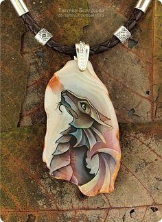 "Кулон с росписью ""Дракон"" (серебро 925, агат, лаковая миниатюра) - кулон с камнем"