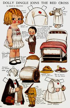 Joins the Red Cross  Bonecas de Papel: Dolly Dingle Paper Dolls