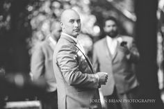 Black and white portrait of groom before Curtis Center wedding. Photos by Jordan Brian Photography.