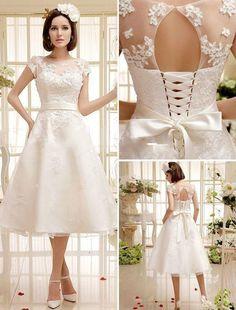 White/Ivory Tea Length Short Vintage Lace Wedding Dress Size 6 8 10 12 14 16