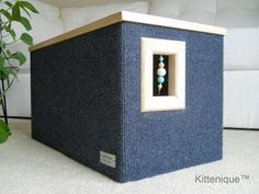 Your cat will be warm and comfortable in this fully carpeted cat house. https://www.etsy.com/shop/Kittenique?ref=l2-shopheader-name