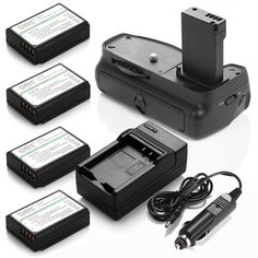 Battery Grip + 4 Pack LP-E10 Batteries + Charger For Canon EOS 1100D Rebel T5 T3 #DBK