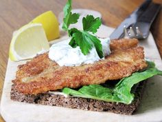 Fish Filet with Dill Creme Fraiche on Danish Rye Bread | Danish Open Sandwiches (Smørrebrød)