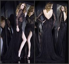 2015 Charming Black Long Sleeve Evening Dresses Mermaid Lace V Neck Sheer Formal Gowns Court Train Long Backless Prom Dress Custom Made, http://www.dhgate.com/product/2015-charming-black-long-sleeve-evening-dresses/217062216.html