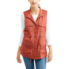 Faded Glory Women's Utility Vest, Size: Large, Red