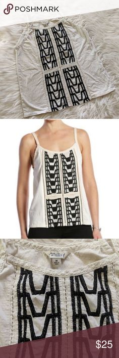 Lucky Brand 'Step' Tank Top Cream and navy 'step' patterned embroidered tank top from Lucky Brand. 100% cotton. Size medium.  Measurements-- Pit to pit: 18 in. Length from bottom of straps: 20 in. Lucky Brand Tops Tank Tops