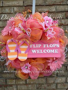 Flip flop indoor outdoor flower surf wreath