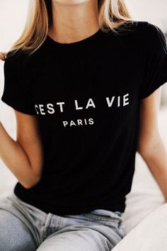 Cest La Vie French Graphic Tee Shirts Pullover Boyfriend Tshirt Women Men Sweatshirt Humor Unisex Top - French Shirt - Ideas of French Shirt - Graphic T Shirts, Tee Shirts, Trend Fashion, Fashion Looks, Cheap Fashion, Fall Fashion, Mode Style, Style Me, Looks Instagram