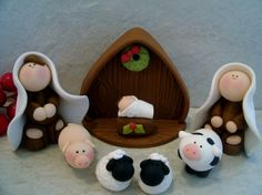Your place to buy and sell all things handmade Christmas Jesus, Christmas Wood, Kids Christmas, Pink Panter, Polymer Clay Christmas, Nativity Scenes, Biscuit, Miniature Houses, Xmas Decorations