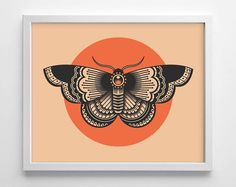 Moth Tattoo Design, Minimialistic, College Dorm Room, Indie, Hipster, Simplistic Home, Nursery Print, Wedding Gift, Giclee Art Print