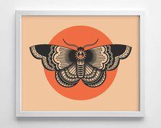 Moth Tattoo Design, Minimialistic, College Dorm Room, Indie, Hipster, Simplistic Home, Nursery Print, Wedding Gift, Giclee Art Print