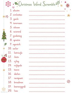 Printable Christmas Word Scramble