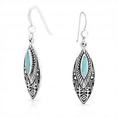 Bling Jewelry 925 Silver Vintage Style Tribal Synthetic Turquoise Drop Earrings
