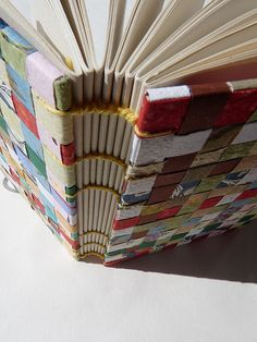 Woven-covered book by Lucie Forejtova - Gorgeous. I want to try this with lines of handwritten text in different colours...