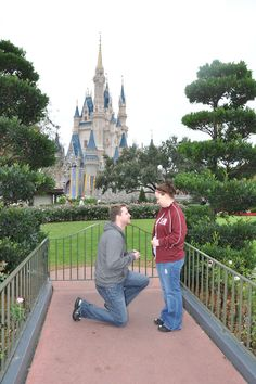 Proposal in front of Cinderella's Castle