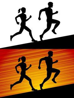 Men and Women Running Silhouette. Human Icons. $5.00