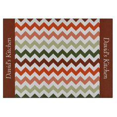 Tomato Tones Chevron Glass Cutting Board .............This design features a Tomato Tones Chevron pattern. These colors are can be found on surrounding a tomato on a vine in the garden. The TEXT on both sides (left and right) can be customized with your own name. Check out my store for more colors.