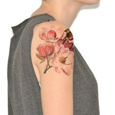 Temporary tattoo Watercolor Frida Kahlo Paint splat by Siideways Large Temporary Tattoos, Large Tattoos, Watercolor Flowers, Watercolor Tattoo, Magnolia, Brust Tattoo, Girl Tattoos, Tatoos, Flower Tattoos